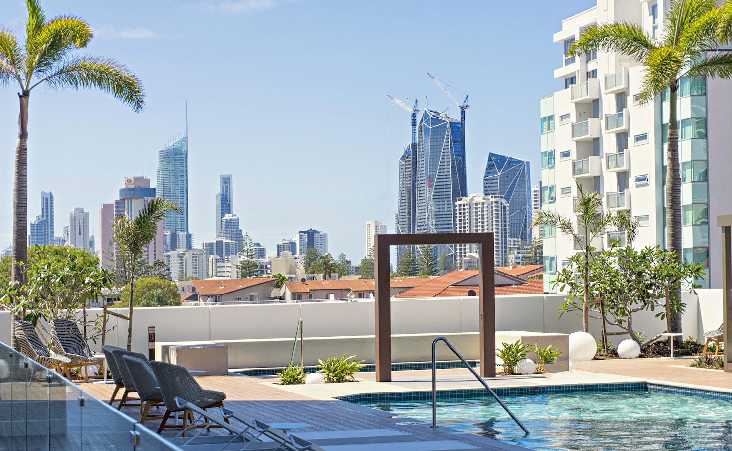 Qube apartments Gold Coast Australia city views from the pool